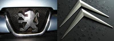 Logos de Peugeot y Citroen (Imágenes de Ferbeminiatures)