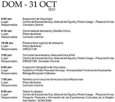 Cronograma del XV Festival de la Orquídea 2010 (Moyobamba, Perú)- Domingo 31 de Octubre