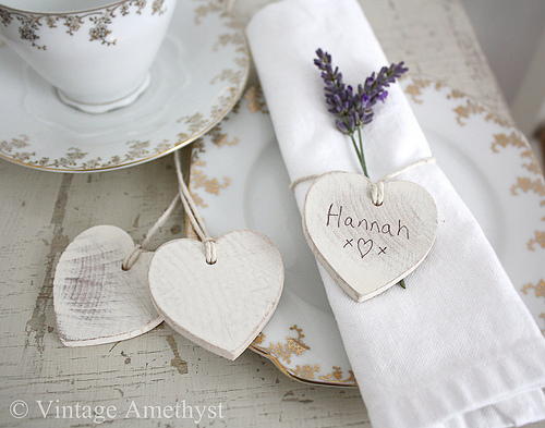 heartshaped tags just perfect as place settings for wedding tables