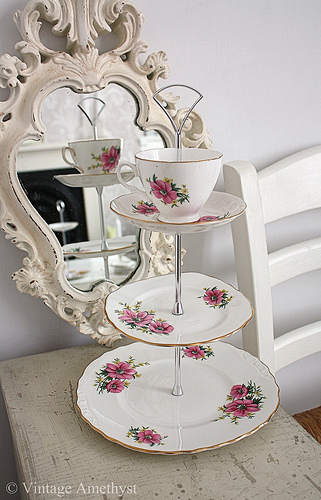 This is such a pretty unique cake stand perfect for tea parties