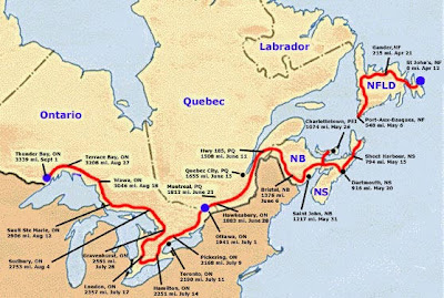 Canada Aloïs Théo Terry Fox Run Map - How far did i run map