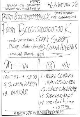 Gilbert's cassette liner notes