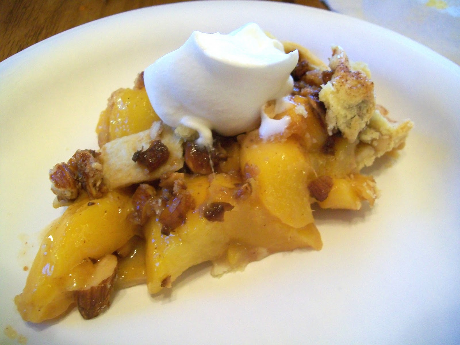 How to make a peach pralined pie.