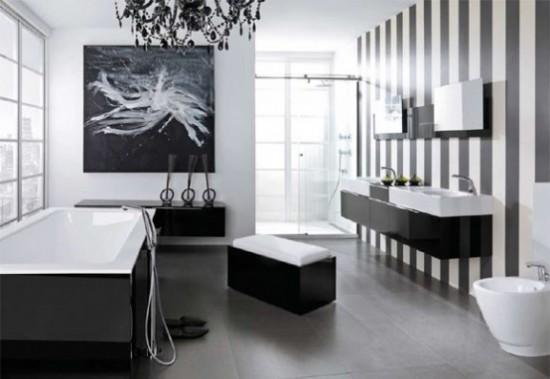 White Gray Bathroom Design with elegant white gray strips<br />