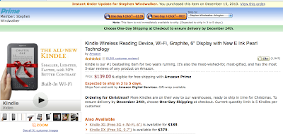 BULLETIN: Kindle Wi-Fi Sold Out as Christmas Season Peaks