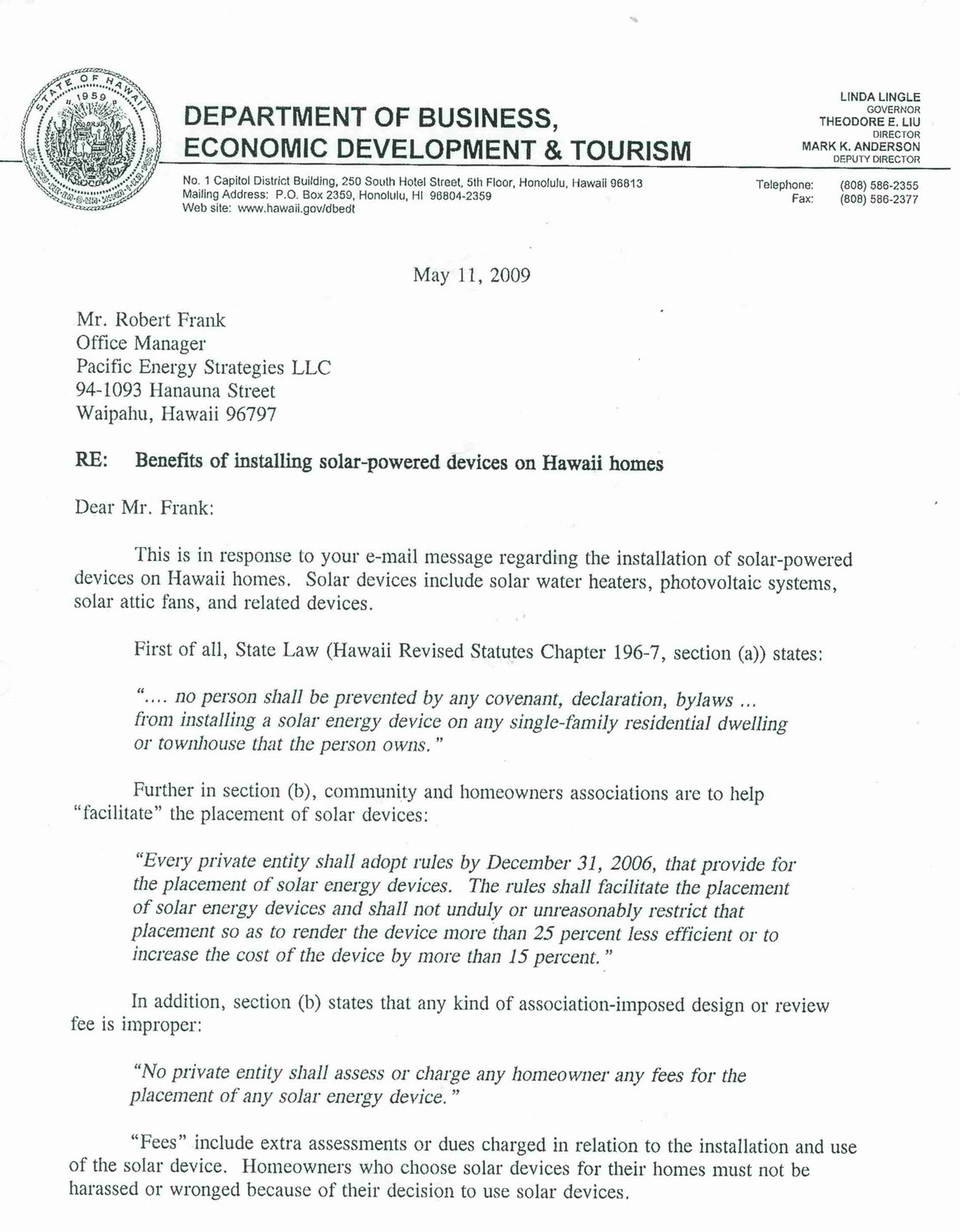 PACIFIC ENERGY STRATEGIES LLC Letter from Hawaii State