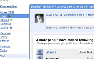 Google Buzz Google Gmail Email Status Update How