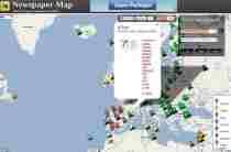 Periódicos de todo el mundo en un mapa Newspaper Map