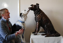 Collie dog greets Ruswarp the Collie  Bronze Sculpture