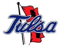 Tulsa written in blue over a red and black flag flapping in the wind as drawn by an artist.