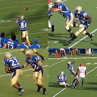 Four pictures in the four corners of this square image display football players in blue uniform tops and gold football pants catching, running, handing off, and kicking footballs during games.