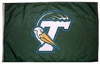 White letter T on a green flag with a Pelican heading wrapping around the letter T.  A green wave is drawn rolling over the white letter T.