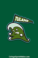 A green wave drawn to have human features hold a pennant flag reading Tulane against a green vertical shaped flag background.