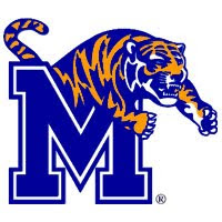 A blue and orange tiger leaping over the blue University of Memphis M logo with a white background.
