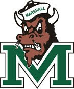 Cartoon image of the brown Marshall University buffalo mascot wearing a white sailor hat with the word Marshall written in green on the hat.  The buffalo mascot is fuming smoke from his nostrils and positioned over a green Marshall letter M logo on a white background.