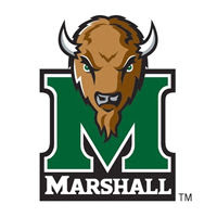 Marshall University mascot over the green M logo and Marshall text against a white background.