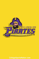 Yellow ECU Pirates flag with pirate head logo and sword.