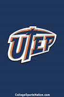 Blue background with the UTEP written in blue with white and orange border.