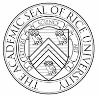 Rice University seal, black and white.