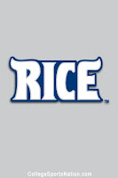Grey and white Rice logo.