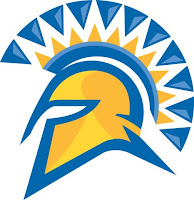 San Jose Spartan helmet logo with blue and yellow.