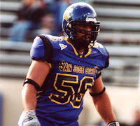 San Jose State football linebacker in purple uniform.