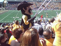 Cowboy mascot at Wyoming football game.