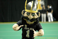 Idaho Vandals mascot with big mustache.