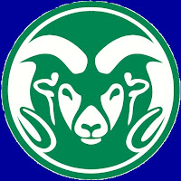 Green CSU Rams logo with blue background.