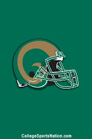 Drawing of CSU football helmet with green background.
