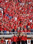 Sea of University of Utah fans in red shirts at a football game.