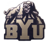 Silver BYU cougar over the letters with dark blue trim.