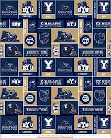 Checkered blue and gold BYU wallpaper with logos.