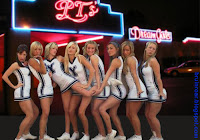 BYU cheerleaders dance together in white uniforms.