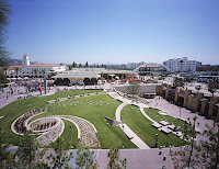 San Diego State college campus with grass and walkways.