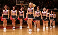 San Diego State cheerleaders line up.