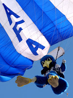 AFA mascot with parachute.