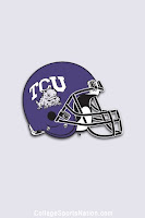 TCU purple helmet with gray background.