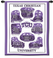 Purple Texas Christian University flag with campus images.