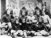 Old BYU football team in black and white photo.
