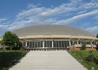 Large domed basketball arena at University of Utah.