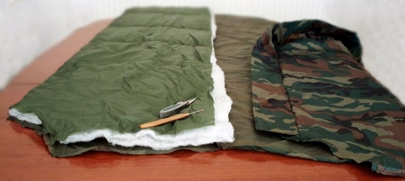 the sleeping bag first had to be taken apart at the seams without ripping the rip stock  then the cheap man made lining taken out  all things bushcraft  diy hammcok underquilt   project  rh   wolfcrafter blogspot