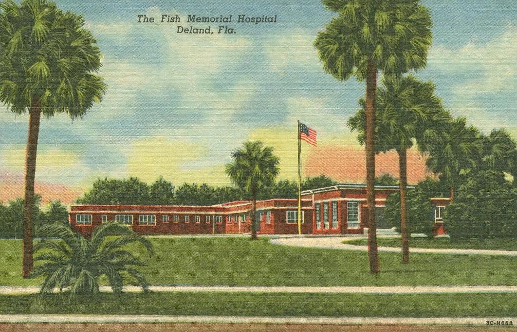Vintage travel postcards deland florida for Fish memorial hospital