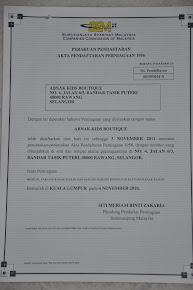 Sijil Pendaftaran Business
