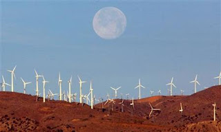 Wind turbines with the moon