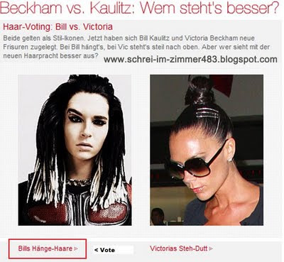 Now they have new hairstyle Bill Kaulitz and Victoria Beckham.