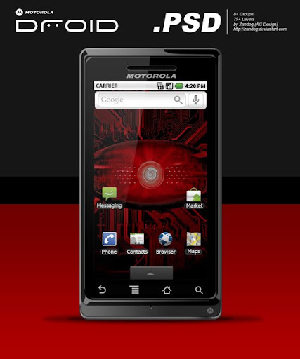 Motorola Droid  PSD by zandog Google Nexus One, Android GUI PSD Packs For Designers