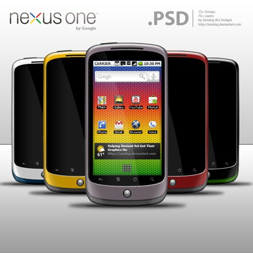 Nexus One by Google  PSD by zandog Google Nexus One, Android GUI PSD Packs For Designers