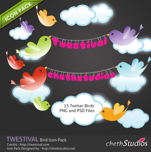 Twestival+Twitter+Birds+Icon+Pack+Poster+Wallpaper++2010 Fresh and Exceptional Twitter Bird Design Icons
