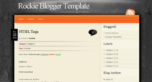 Rockie Huge Compilation of Best Blogger Templates Released in 2010 | Blogspot Toolbox